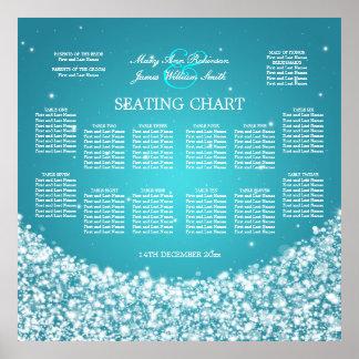 Elegant Wedding Seating Chart Star Sparkle Blue