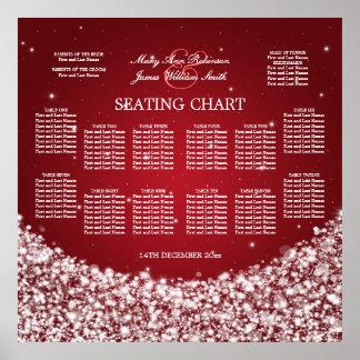 Elegant Wedding Seating Chart Star Sparkle Red