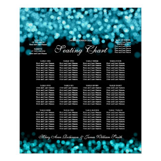 Elegant Wedding Seating Chart Turquoise Lights Poster
