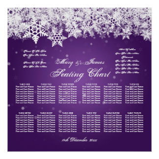 Elegant Wedding Seating Chart Winter Snow Purple