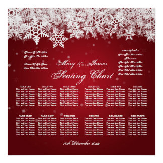 Elegant Wedding Seating Chart Winter Snow Red Poster