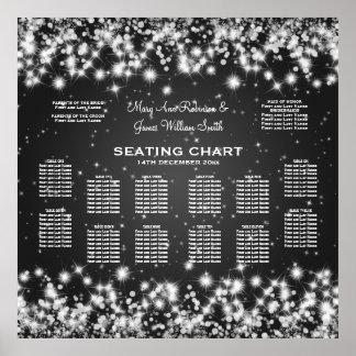 Elegant Wedding Seating Chart Winter Sparkle Black