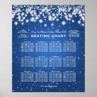Elegant Wedding Seating Chart Winter Sparkle Blue