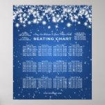 Elegant Wedding Seating Chart Winter Sparkle Blue Poster