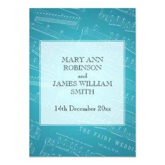 Elegant Wedding Sheet Music Blue 5x7 Paper Invitation Card