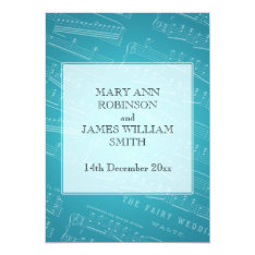 Elegant Wedding Sheet Music Blue Card at Zazzle
