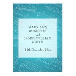 Elegant Wedding Sheet Music Blue Invitations