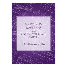 Elegant Wedding Sheet Music Purple Card at Zazzle