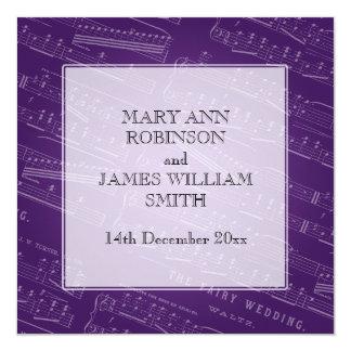 Elegant Wedding Sheet Music Purple Invitation