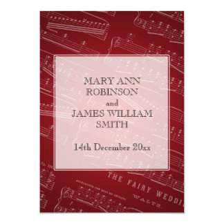 Elegant Wedding Sheet Music Red Card