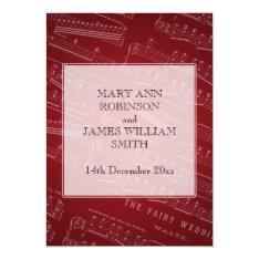 Elegant Wedding Sheet Music Red Card at Zazzle