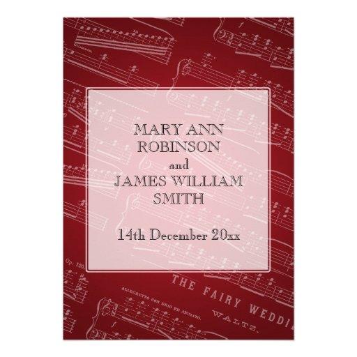 Elegant Wedding Sheet Music Red Invitation