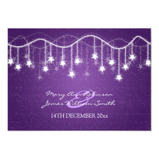 Elegant Wedding Shimmering Stars Purple 5x7 Paper Invitation Card