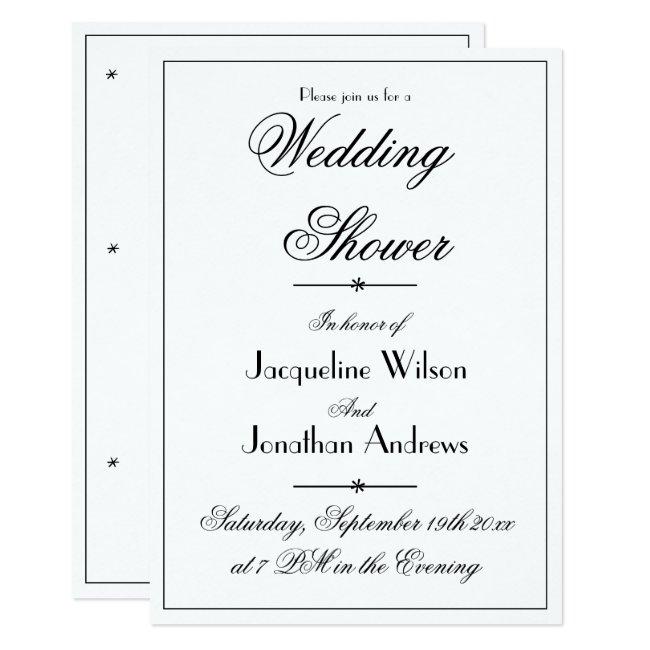 Elegant Wedding Shower Chic White Custom Invite