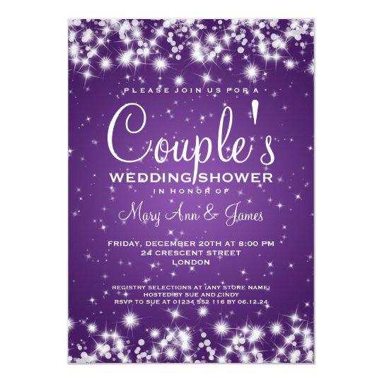 Elegant Purple Wedding Invitations: Elegant Wedding Shower Winter Sparkle Purple Invitation