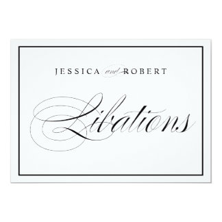 Elegant Wedding Sign - Libations Bar Black Border Card