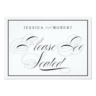 Elegant Wedding Sign Please Be Seated Black Border Card