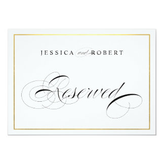 Elegant Wedding Sign Reserved Faux Gold Border Card