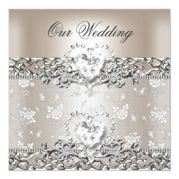 Valentines Themed Elegant Wedding Silver Cream Diamond Heart Card