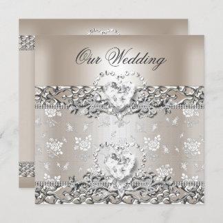 Elegant Wedding Silver Cream Diamond Heart Invitation