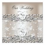 Elegant Wedding Silver Cream Diamond Heart Personalized Announcement