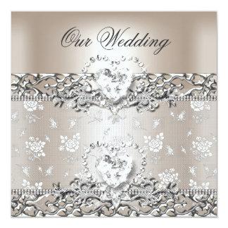 """Elegant Wedding Silver Cream Diamond Heart 5.25"""" Square Invitation Card"""
