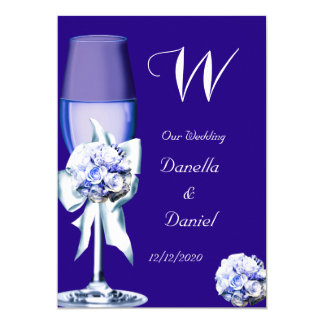 Elegant Wedding Silver Navy Blue Floral Roses Card