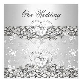 Elegant Wedding Silver White Diamond Heart Card