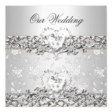 Valentines Themed Elegant Wedding Silver White Diamond Heart Card