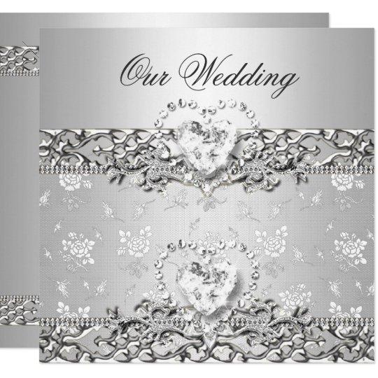 Elegant Wedding Invitation Design: Elegant Wedding Silver White Diamond Heart Invitation