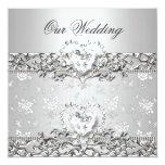Elegant Wedding Silver White Diamond Heart Custom Invitation