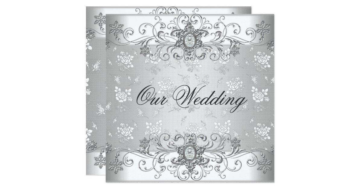 Silver Wedding Gift Experiences : Elegant Wedding Silver White Diamond Jewel Lace Card Zazzle