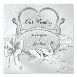 Elegant Wedding Silver White Swans Heart Bow Card