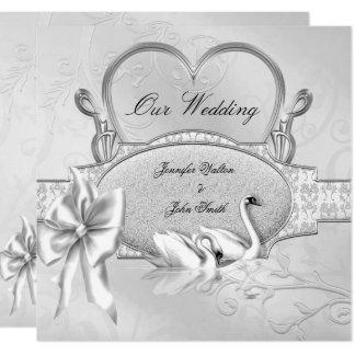 Elegant Wedding Silver White Swans Heart Bow Invitation