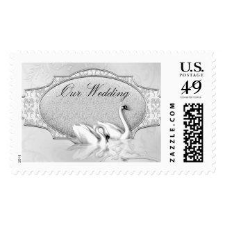 Elegant Wedding Silver White Swans Heart Bow Postage Stamp