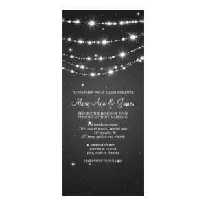 Elegant Wedding Sparkling Chain Black Custom Invite