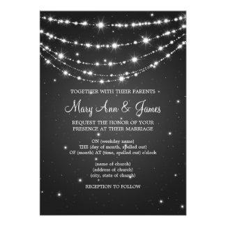 Elegant Wedding Sparkling Chain Black Custom Invitation