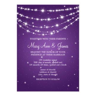 Elegant Wedding Sparkling Chain Purple Card