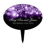 Elegant Wedding Sparkling Lights Purple Cake Picks