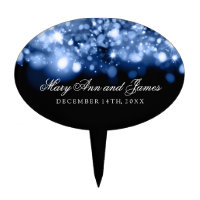 Elegant Wedding Sparkling Lights Sapphire Blue Cake Topper