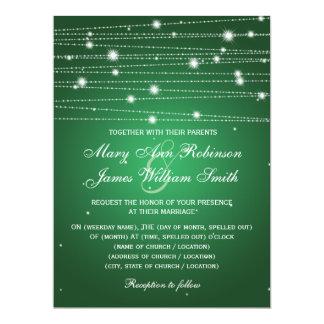 Elegant Wedding Sparkling Lines Emerald Green Card