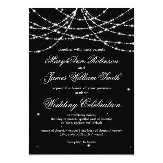 Elegant Wedding Sparkling String Black Card