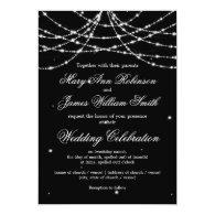 Elegant Wedding Sparkling String Black 5x7 Paper Invitation Card