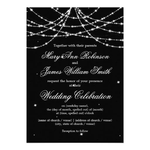 Elegant Wedding Sparkling String Black Invite