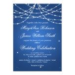 Elegant Wedding Sparkling String Blue Card