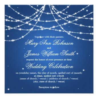 Elegant Wedding Sparkling String Blue Personalized Invites