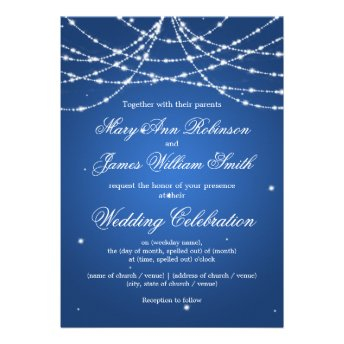 Elegant Wedding Sparkling String Blue Personalized Announcements