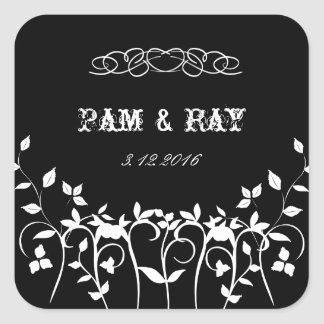 Elegant Wedding Stickers - Black White Floral