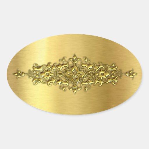 elegant wedding stickers gold oval sticker zazzle