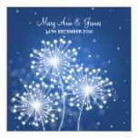 Elegant Wedding Summer Sparkle Sapphire Blue 5.25x5.25 Square Paper Invitation Card